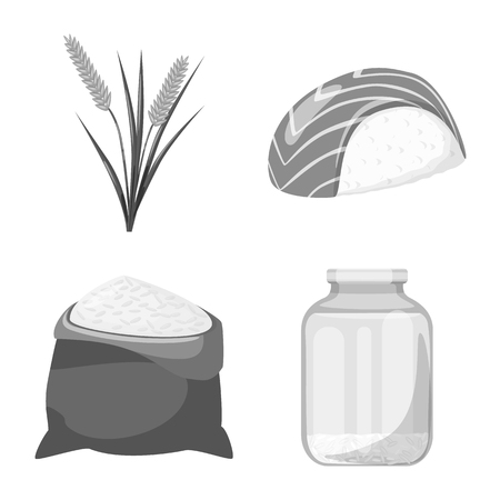 Isolated object of food and organic sign. Collection of food and agricultural stock symbol for web.