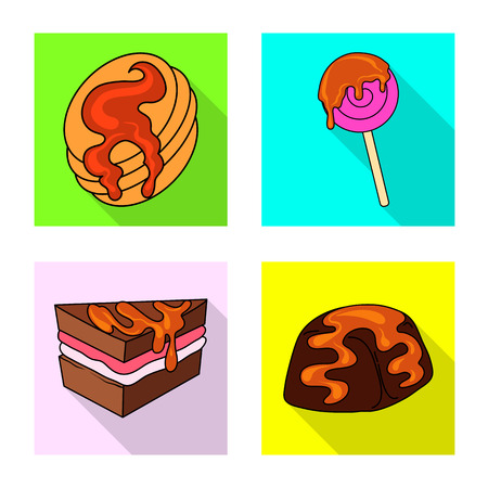 Vector illustration of confectionery and culinary symbol. Set of confectionery and colorful vector icon for stock.