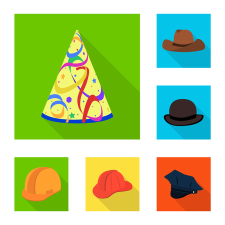 Isolated object of fashion and profession icon. Collection of fashion and cap stock symbol for web. Illustration