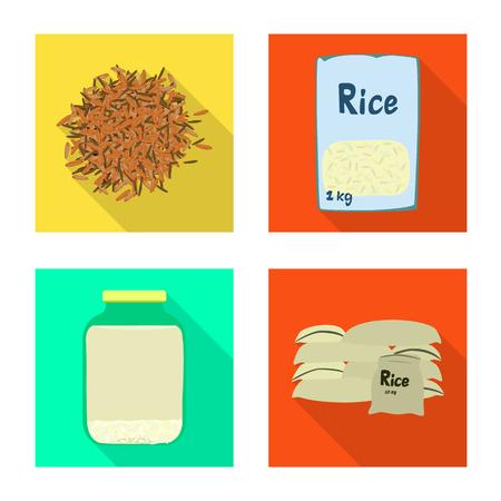 Vector illustration of raw and agricultural symbol. Set of raw and ecological stock symbol for web. Ilustração