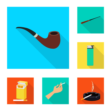 Isolated object of smoke and statistics icon. Collection of smoke and stop stock symbol for web. Illustration
