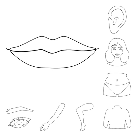 Vector design of body and part icon. Collection of body and anatomy stock symbol for web.