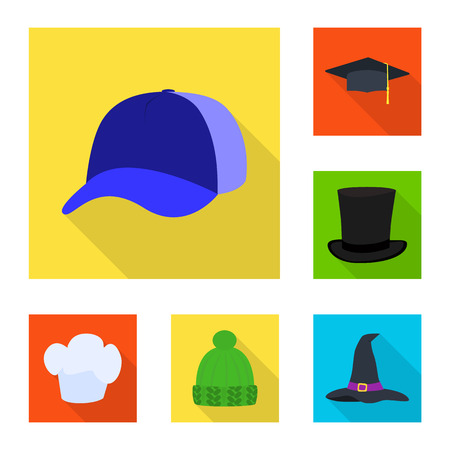 Vector illustration of fashion and profession logo. Collection of fashion and cap stock symbol for web.
