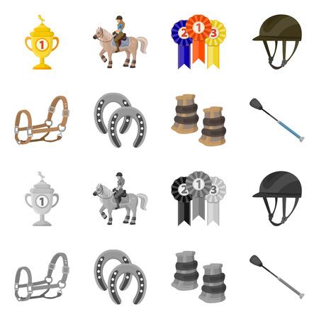 Vector design of equipment and riding symbol. Set of equipment and competition vector icon for stock. Illusztráció