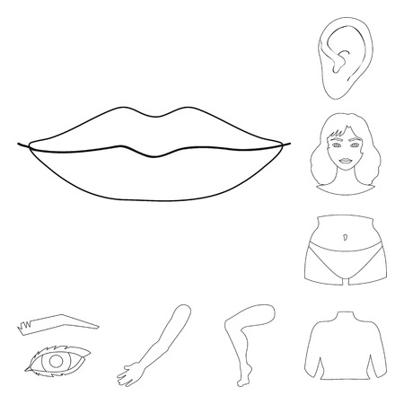 Vector design of body and part icon. Collection of body and anatomy stock symbol for web. Stock Vector - 124852899