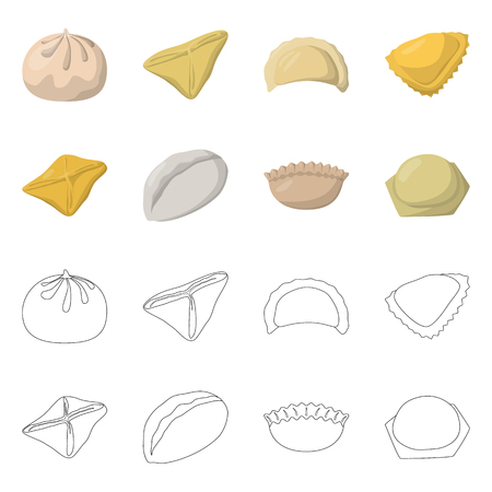Isolated object of products  and cooking. Set of products  and appetizer vector icon for stock.