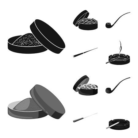 Vector illustration of refuse and stop sign. Set of refuse and habit stock symbol for web. Ilustração