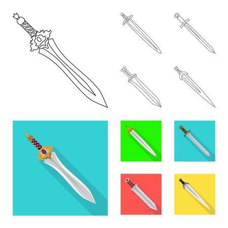 Isolated object of game  and armor. Set of game  and blade  stock vector illustration.