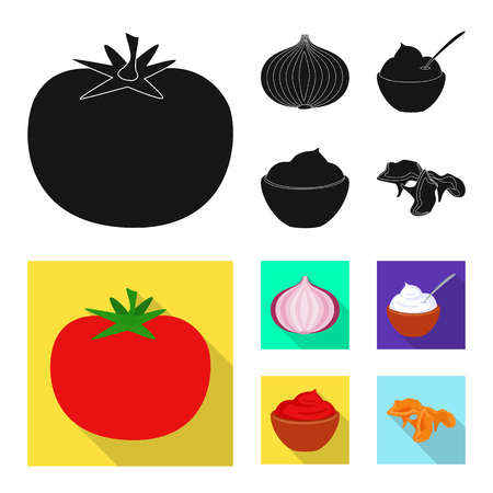 Vector design of taste and product logo. Set of taste and cooking stock vector illustration.