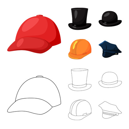 Vector illustration of clothing and cap logo. Collection of clothing and beret stock vector illustration. Illustration