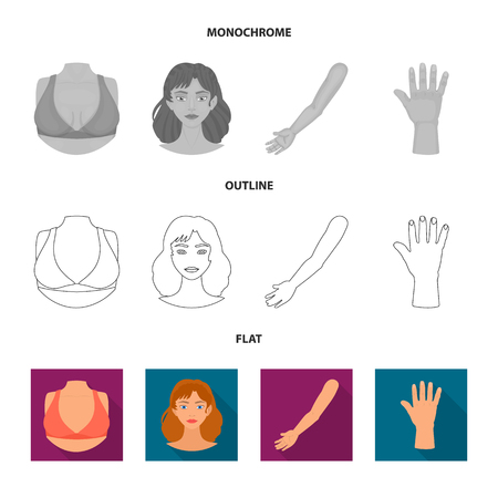 Vector design of body and part sign. Collection of body and anatomy vector icon for stock. Stock Vector - 124853008