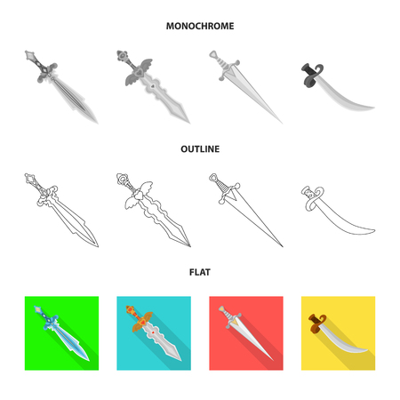 Vector design of game and armor. Collection of game and blade stock vector illustration.