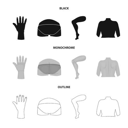 Vector illustration of body and part symbol. Collection of body and anatomy stock vector illustration.  イラスト・ベクター素材