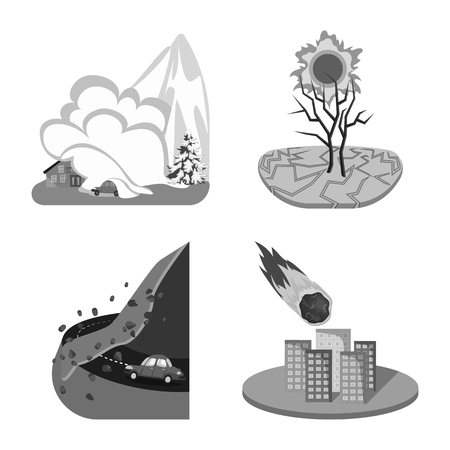 Vector design of nature and apocalypse  icon. Set of nature and environment  stock vector illustration. Illustration
