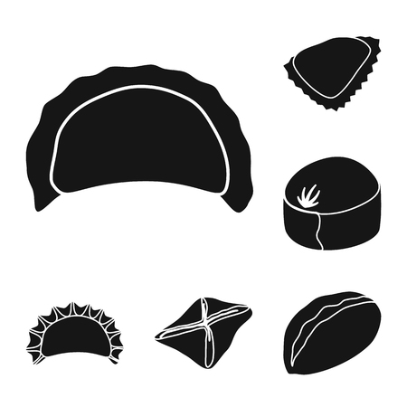 Vector illustration of cuisine  and appetizer. Set of cuisine  and food  vector icon for stock.