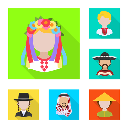 Vector design of nation and race  icon. Set of nation and user stock vector illustration.