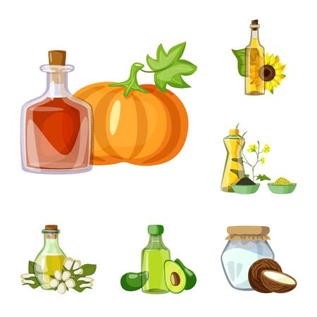 Ilustración de vector de símbolo de botella y vidrio. Conjunto de ilustración de vector stock botella y agricultura.