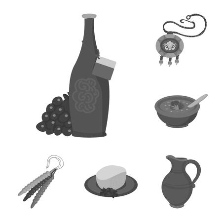 Conception de vecteur d'attributs et icône de tourisme. Ensemble d'attributs et icône vectorielle nationale pour le stock.
