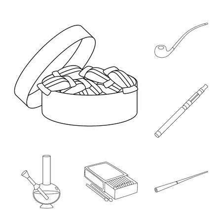 Vector illustration of health and nicotine symbol. Set of health and statistics stock symbol for web. Ilustração