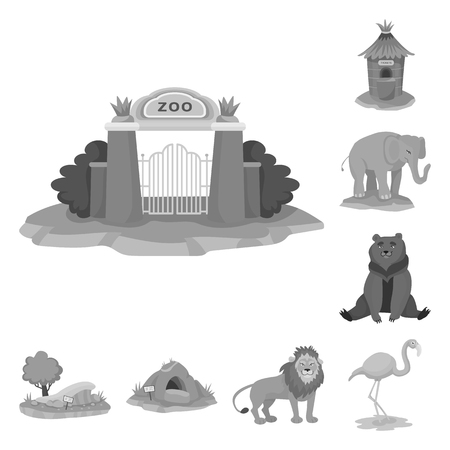 Vector illustration of zoo  and park symbol. Collection of zoo  and animal vector icon for stock.