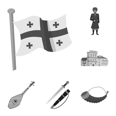 Vector illustration of attributes and tourism sign. Collection of attributes and national stock vector illustration.