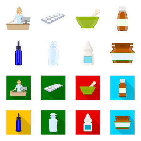 Isolated object of retail and healthcare symbol. Set of retail and wellness vector icon for stock.