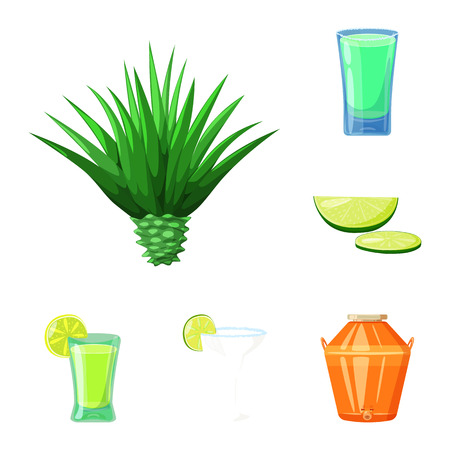 Isolated object of Mexico and tequila symbol. Collection of Mexico and fiesta stock vector illustration.