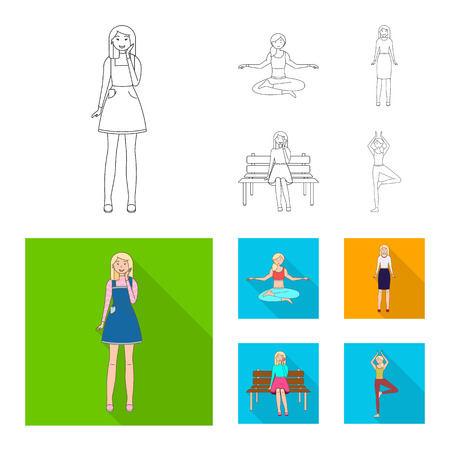 Isolated object of posture and mood symbol. Set of posture and female vector icon for stock. Illustration