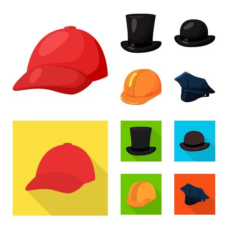 Vector illustration of clothing and cap symbol. Set of clothing and beret vector icon for stock. Иллюстрация