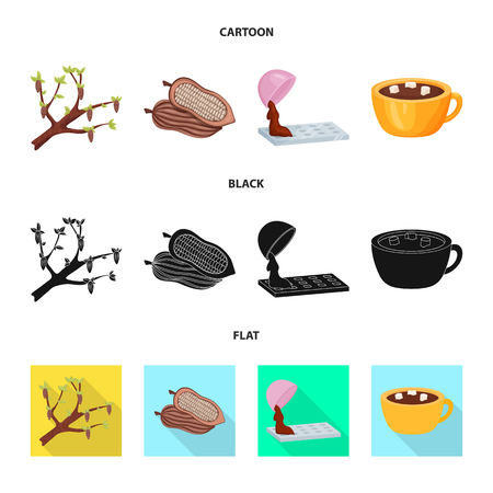 Isolated object of food and yummy logo. Set of food and brown   vector icon for stock. Stock Illustratie