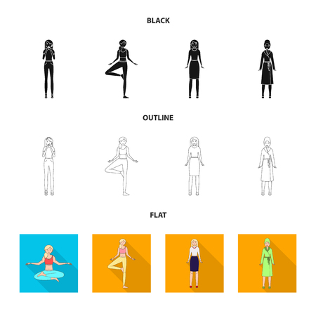 Isolated object of posture and mood logo. Collection of posture and female vector icon for stock.