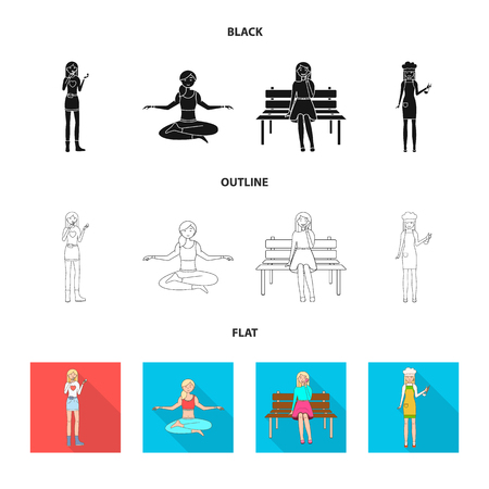 Vector design of posture and mood sign. Set of posture and female vector icon for stock.