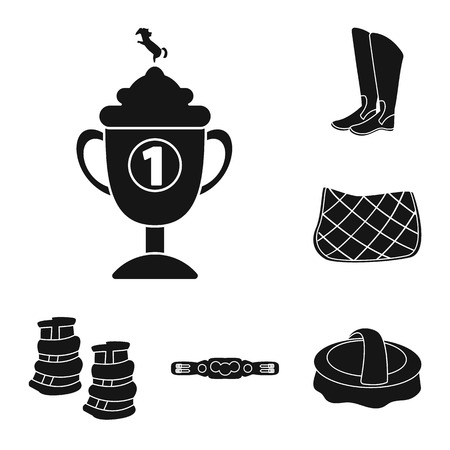 Vector design of sport and competition sign. Set of sport and equestrian stock symbol for web.