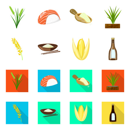 Isolated object of crop and ecological sign. Set of crop and cooking stock symbol for web.