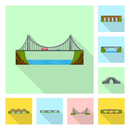Vector illustration of bridgework and bridge sign. Set of bridgework and landmark vector icon for stock. Çizim