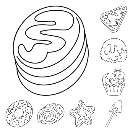 Vector design of sweet and product symbol. Collection of sweet and caramel vector icon for stock. Banque d'images - 124788648