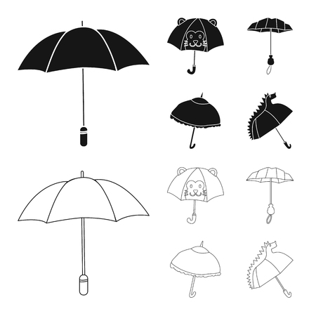 Isolated object of protection and closed symbol. Collection of protection and rainy stock symbol for web.