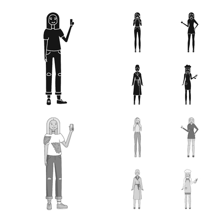Vector design of posture and mood. Set of posture and female vector icon for stock.