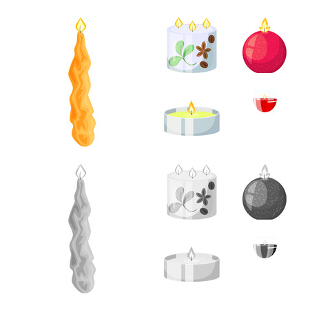 Vector design of relaxation and flame symbol. Collection of relaxation and wax stock vector illustration. 일러스트