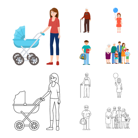 Vector illustration of character and avatar. Collection of character and portrait stock vector illustration. Illustration