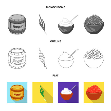 Vector illustration of taste and product symbol. Set of taste and cooking vector icon for stock.