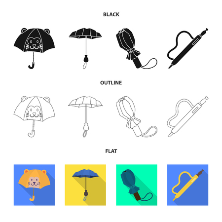 Vector design of protection and closed logo. Set of protection and rainy stock symbol for web. Illustration