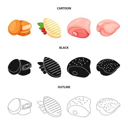 Objeto aislado de producto y aves. Colección de ilustración de vector stock producto y agricultura.