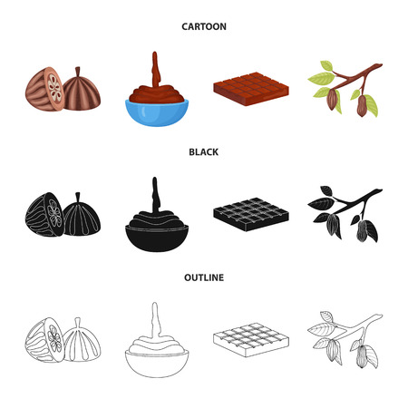 Vector illustration of food and yummy sign. Set of food and brown vector icon for stock.