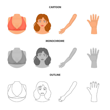 Vector illustration of body and part sign. Set of body and anatomy vector icon for stock.