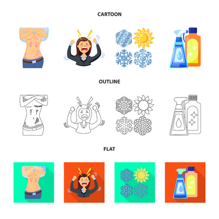 Vector illustration of medical and pain  icon. Collection of medical and disease stock symbol for web.