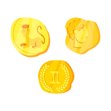 Vector illustration of coins and antique. Set of coins and old vector icon for stock.