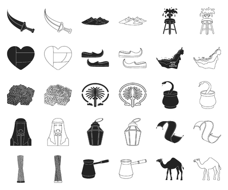 Country United Arab Emirates black,outline icons in set collection for design. Tourism and attraction vector symbol stock web illustration.