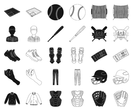 Baseball and attributes black,outline icons in set collection for design.Baseball player and equipment vector symbol stock web illustration.