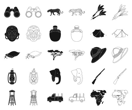 African Safari black,outline icons in set collection for design. Trophies and equipment for Safari vector symbol stock web illustration.